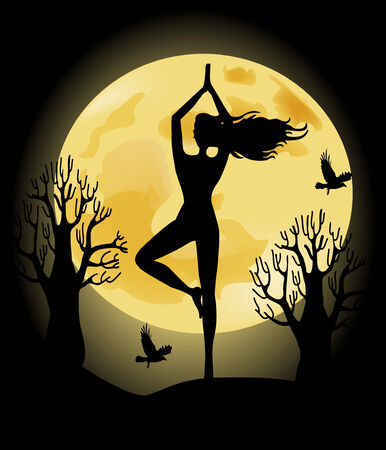 Yoga woman on the background of the full moon  Vector