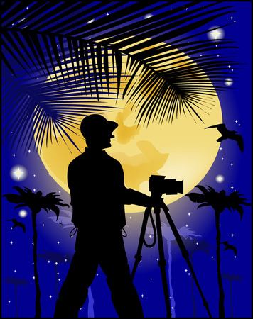photographer on the background of the moon  Vector