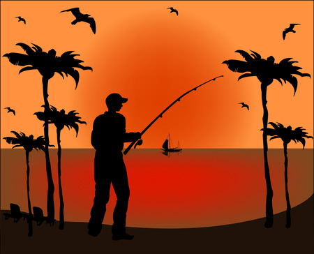 Fisherman silhouette on sunset background  Vector