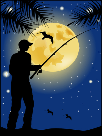 Fisherman silhouette on moon background Vector