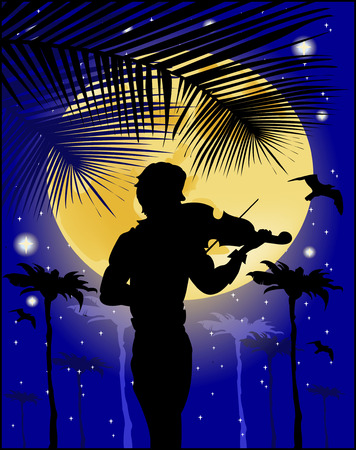 Silhouette of violinist on the background of the full moon Vector
