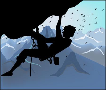 Silhouette arrampicatore su sfondo di montagna