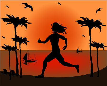 Silhouette of a running athlete on the background of sea sunset  Vector