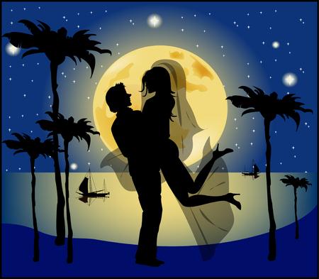 dattelpalme: Silhouette von Braut und Br�utigam Hintergrund der Vollmond Illustration