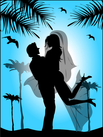 happiness people silhouette on the sunset: Silhouette of bride and groom on the background of blue sky