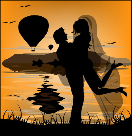 tailcoat: Silhouette of newlyweds on background of sea sunset and flying balloons