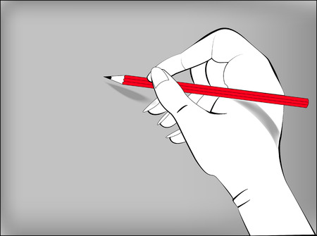 groin: Drawing a hand with a pencil