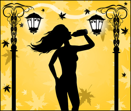 autumn park: Silhouette of a woman in the autumn park