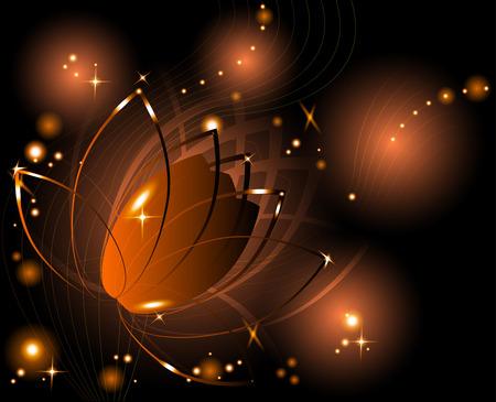 Shining background with golden lotus flower Illustration
