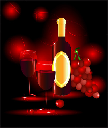 tare: Red wine with glasses and grapes on a red background