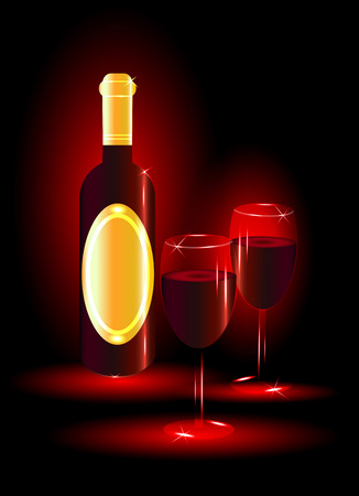 expensive food: Red wine with glasses on red background
