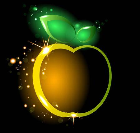 yellow apple: Glowing yellow apple  Illustration