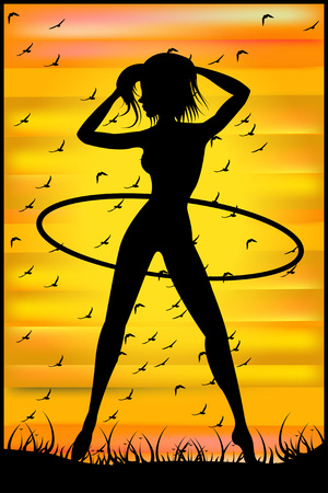 hulahoop: Silhouette of a slender woman doing exercises with hula-hoop on the sunset sky background  Illustration