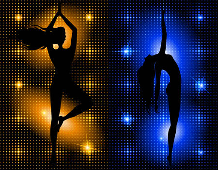 flexible girl: Silhouette of a slender woman on the luminous background  Illustration
