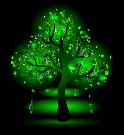 Glowing green tree with music notes Vector