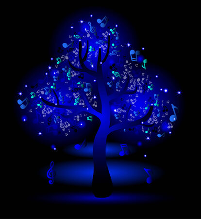 Glowing blue tree with music notes Vector