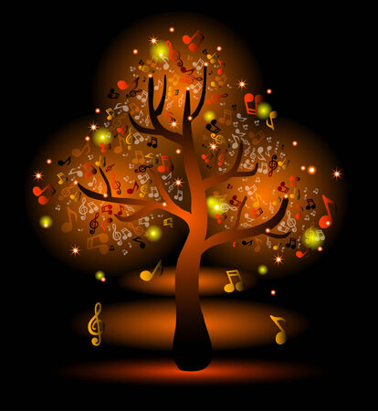 Glowing yellow tree with music notes Vector