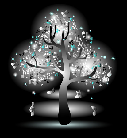 Monochrome luminous tree with music notes Vector