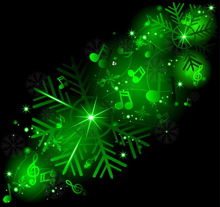 Glowing music notes with winter snowflakes. Winter melody. Vector