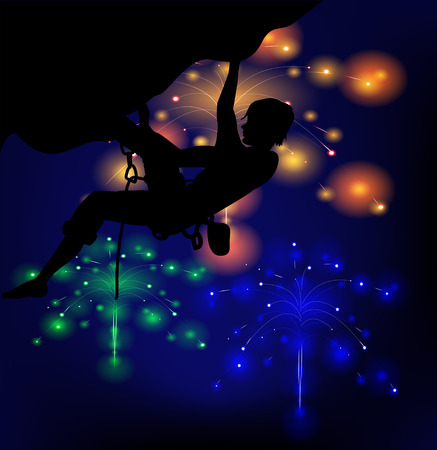 Silhouette of a climber on a background of lights fireworks Vector