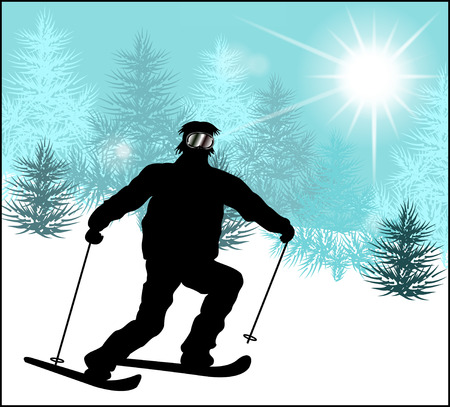 Silhouette of the skier on a background of a winter landscape Illustration