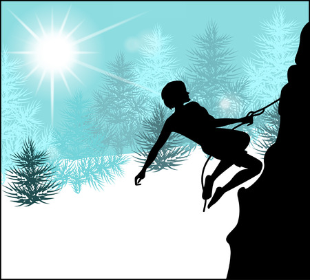 rockclimber: Silhouette of a climber on a background of snow winter landscape