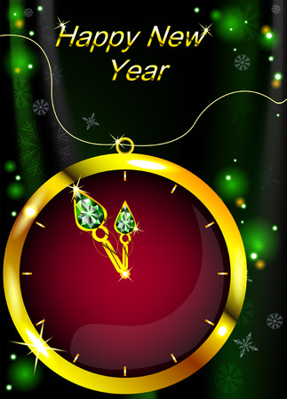 Christmas glowing clock with diamonds on a beautiful background with snowflakes Vector