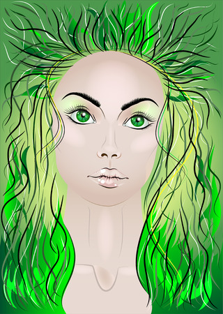 wood nymph: Beautiful fairy woman with flying green hair Illustration