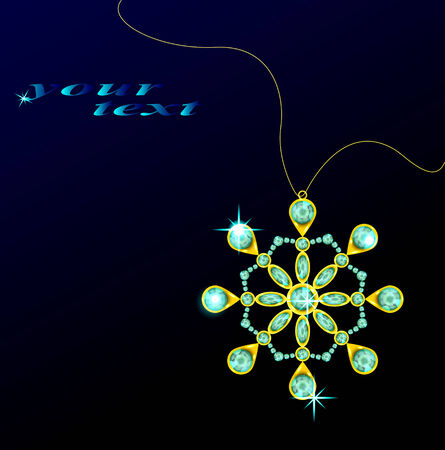 snow chain: Beautiful jewelry pendant in the form of snowflakes on a dark background.