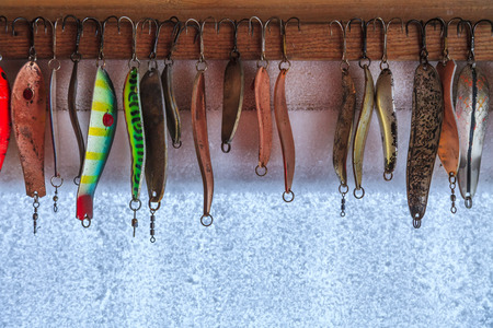 Collection of different fishing hooks photo