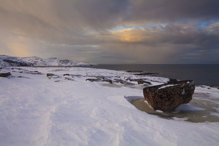 frost bound: Snowy Landscape by the sea