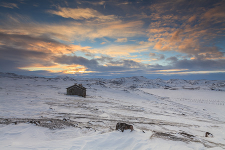 Snowy landscape with old wooden house photo