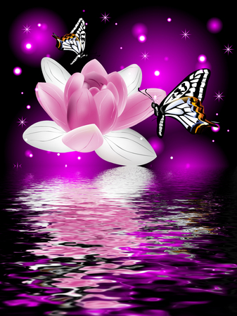 Reflection of a beautiful lotus flower with butterflies on a glowing background Stock Photo