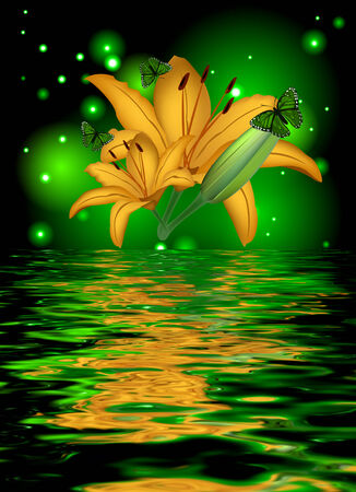 Reflection of a lily with butterflies on a glowing background photo