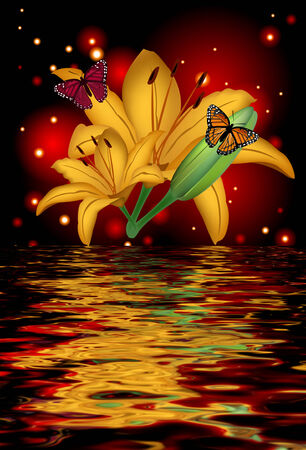 glimpse: Reflection of a lily with butterflies on a glowing background Stock Photo