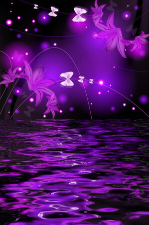 twirled: Reflection of a lily with butterflies on a glowing background Stock Photo