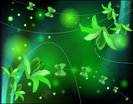 Abstract glowing background with lilies and butterflies Vector