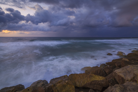 stormy sky: Stormy sky over the wave of the sea in Israel