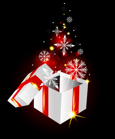 Open gift box with snowflakes on glowing background Vector
