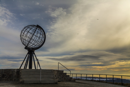 Globe monument at Nordkapp, the northern point of Europe,