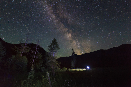 Amazing starry night in the high mountains with falling stars photo