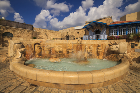 jafo: Beautiful fountain with zodiac signs. Jaffa, Tel Aviv. Israel.
