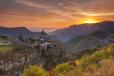 The ancient monastery in the setting sun. Tatev. Armenia.