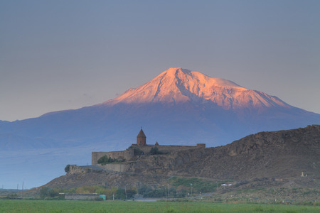 The ancient church of Khor Virap on the background of Mount Ararat. Armenia. Banco de Imagens