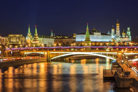 Picturesque views of the night Moscow. Moscow Kremlin and Moskva river.