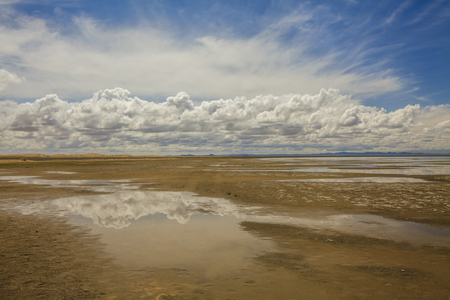 gobi: Gobi Desert after rain. Reflection of clouds in pools. Stock Photo