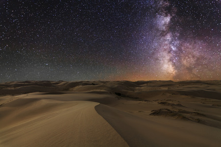 Amazing views of the Gobi desert under the night  starry sky. 写真素材