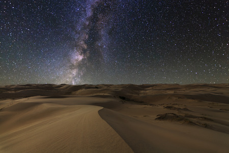 Amazing views of the Gobi desert under the night  starry sky. Stock Photo