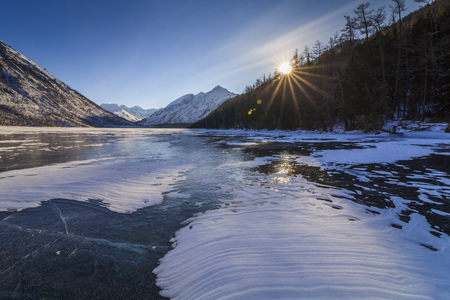 icy: Scenic winter landscape with mountains and icy lake.
