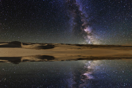 Reflection of the sky and the sand dunes in the lake.